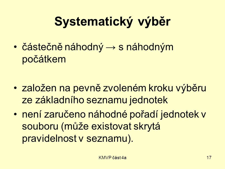 KMVP část 4a17 Systematický výběr částečně náhodný → s náhodným počátkem založen na pevně zvoleném kroku výběru ze základního seznamu jednotek není zaručeno náhodné pořadí jednotek v souboru (může existovat skrytá pravidelnost v seznamu).