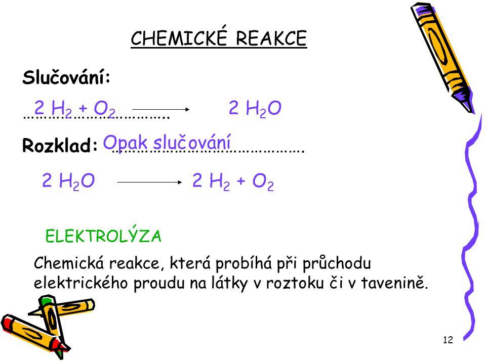 12 Slučování: …………………………….. Rozklad: ………………………………………. CHEMICKÉ REAKCE 2 H 2 + O 2 2 H 2 O Opak slučování ELEKTROLÝZA 2 H 2 O 2 H 2 + O 2 Chemická reak