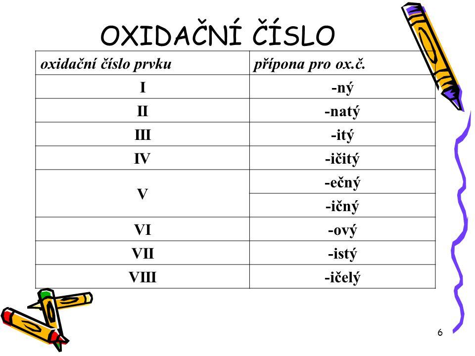 6 OXIDAČNÍ ČÍSLO oxidační číslo prvkupřípona pro ox.č. I-ný II-natý III-itý IV-ičitý V -ečný -ičný VI-ový VII-istý VIII-ičelý