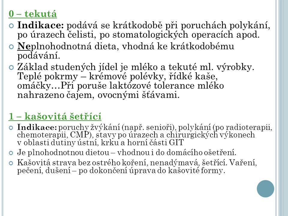 0 – tekutá Indikace: podává se krátkodobě při poruchách polykání, po úrazech čelisti, po stomatologických operacích apod. Ne plnohodnotná dieta, vhodn