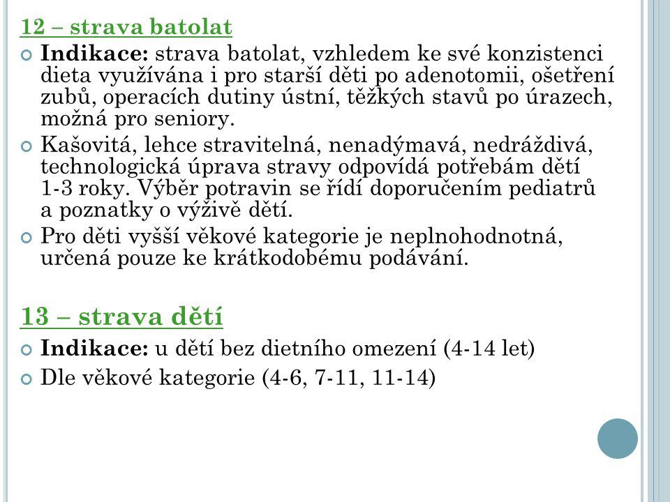 12 – strava batolat Indikace: strava batolat, vzhledem ke své konzistenci dieta využívána i pro starší děti po adenotomii, ošetření zubů, operacích du