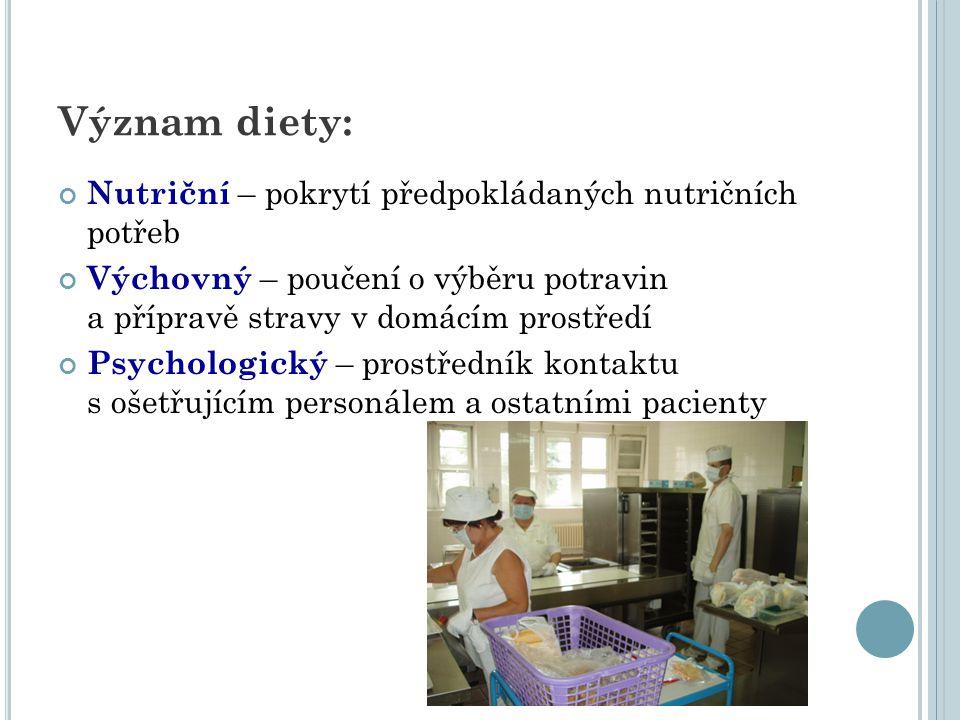 Dieta… chutná, estetická, zdravotně nezávadná předepisuje lékař – denně záznam do dokumentace (nutriční terapeut?) příprava centralizovaná v kuchyni transport na oddělení – termosový nebo tabletový systém doba výdeje stanovena v domácím řádu pitný režim