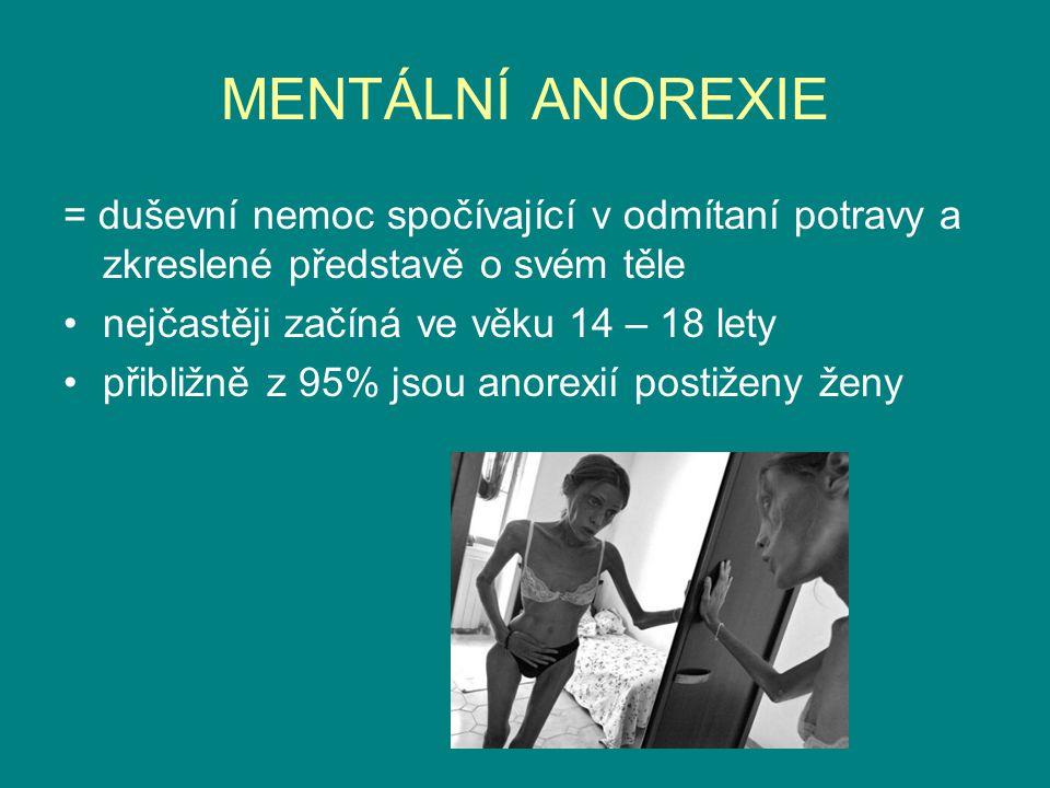 MENTÁLNÍ ANOREXIE = duševní nemoc spočívající v odmítaní potravy a zkreslené představě o svém těle nejčastěji začíná ve věku 14 – 18 lety přibližně z