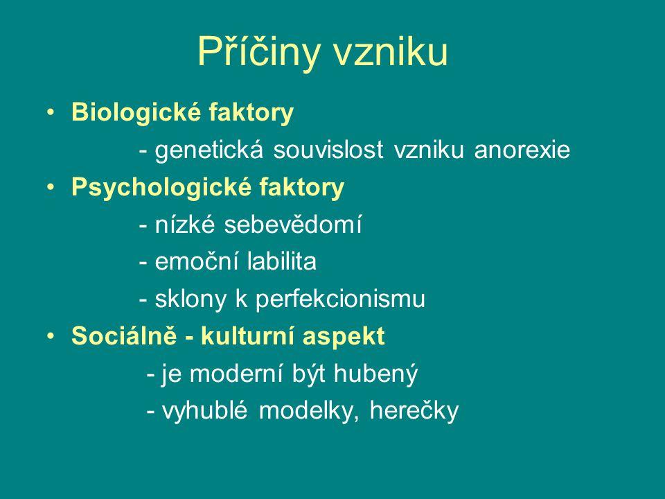 Biologické faktory - genetická souvislost vzniku anorexie Psychologické faktory - nízké sebevědomí - emoční labilita - sklony k perfekcionismu Sociáln