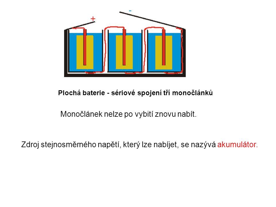 Plochá baterie - sériové spojení tří monočlánků Monočlánek nelze po vybití znovu nabít. Zdroj stejnosměrného napětí, který lze nabíjet, se nazývá akum