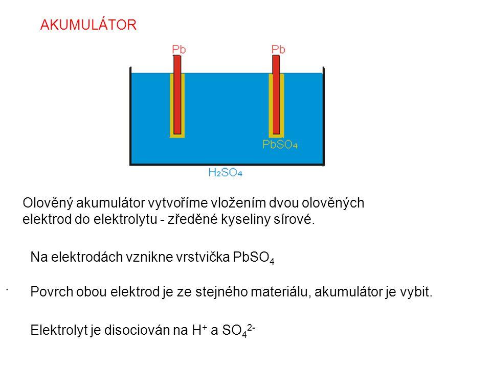 AKUMULÁTOR. Olověný akumulátor vytvoříme vložením dvou olověných elektrod do elektrolytu - zředěné kyseliny sírové. Na elektrodách vznikne vrstvička P