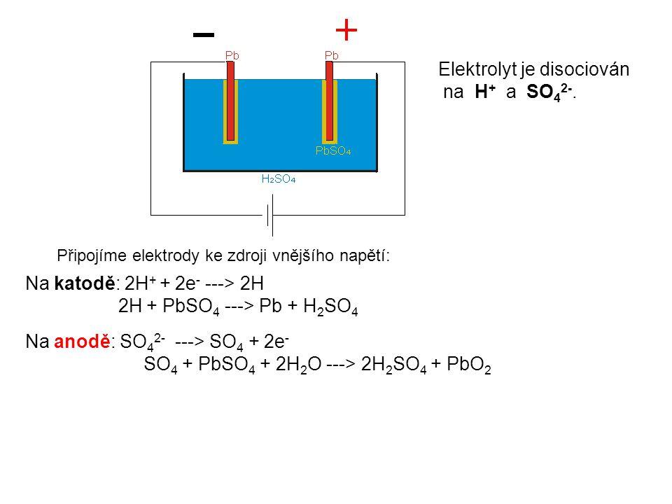 Připojíme elektrody ke zdroji vnějšího napětí: Elektrolyt je disociován na H + a SO 4 2-. Na katodě: 2H + + 2e - ---> 2H 2H + PbSO 4 ---> Pb + H 2 SO