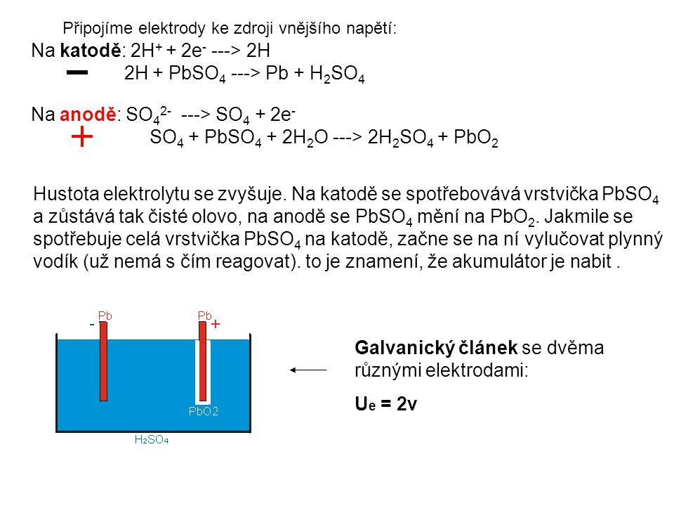 Připojíme elektrody ke zdroji vnějšího napětí: Na katodě: 2H + + 2e - ---> 2H 2H + PbSO 4 ---> Pb + H 2 SO 4 Na anodě: SO 4 2- ---> SO 4 + 2e - SO 4 +