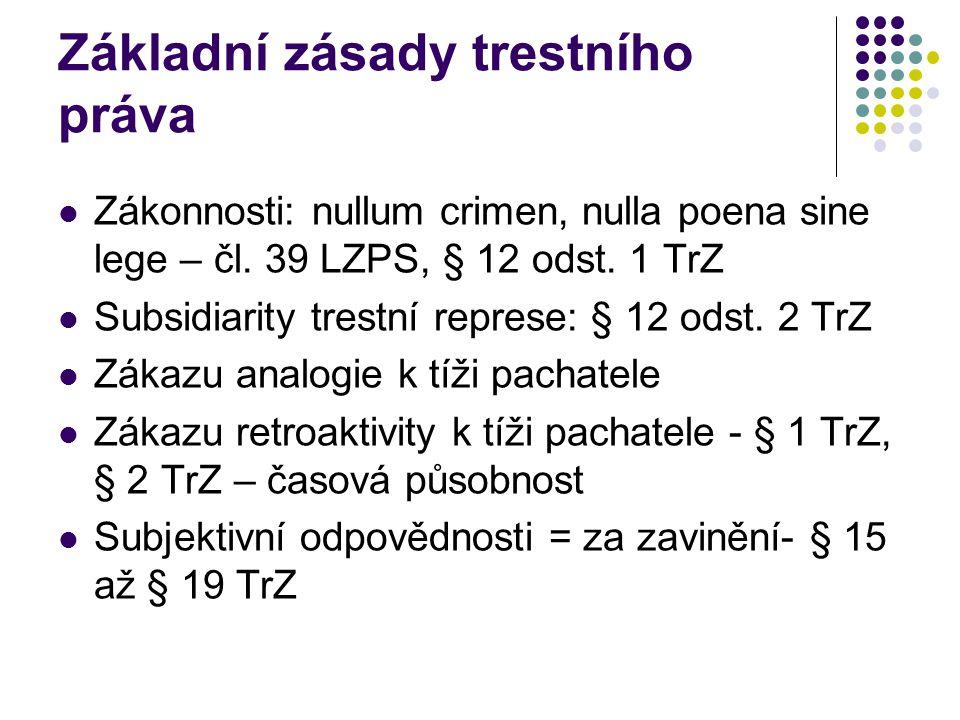 Základní zásady trestního práva Zákonnosti: nullum crimen, nulla poena sine lege – čl.
