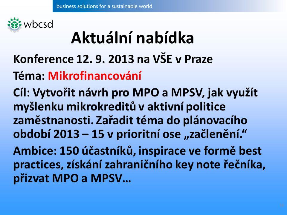 10 Konference 12. 9. 2013 na VŠE v Praze Téma: Mikrofinancování Cíl: Vytvořit návrh pro MPO a MPSV, jak využít myšlenku mikrokreditů v aktivní politic