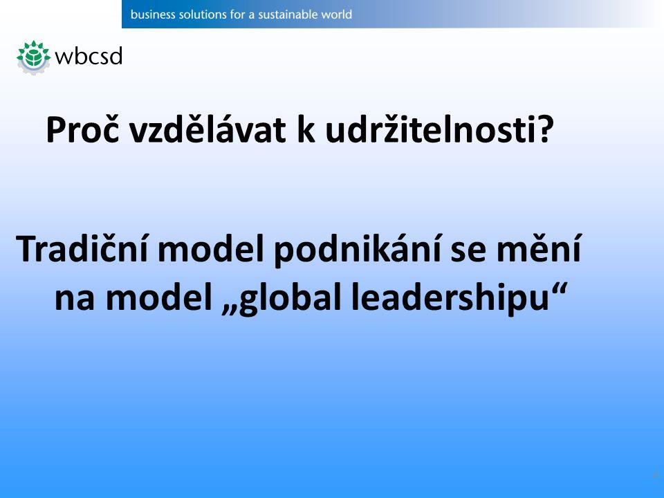 """4 Tradiční model podnikání se mění na model """"global leadershipu Proč vzdělávat k udržitelnosti"""