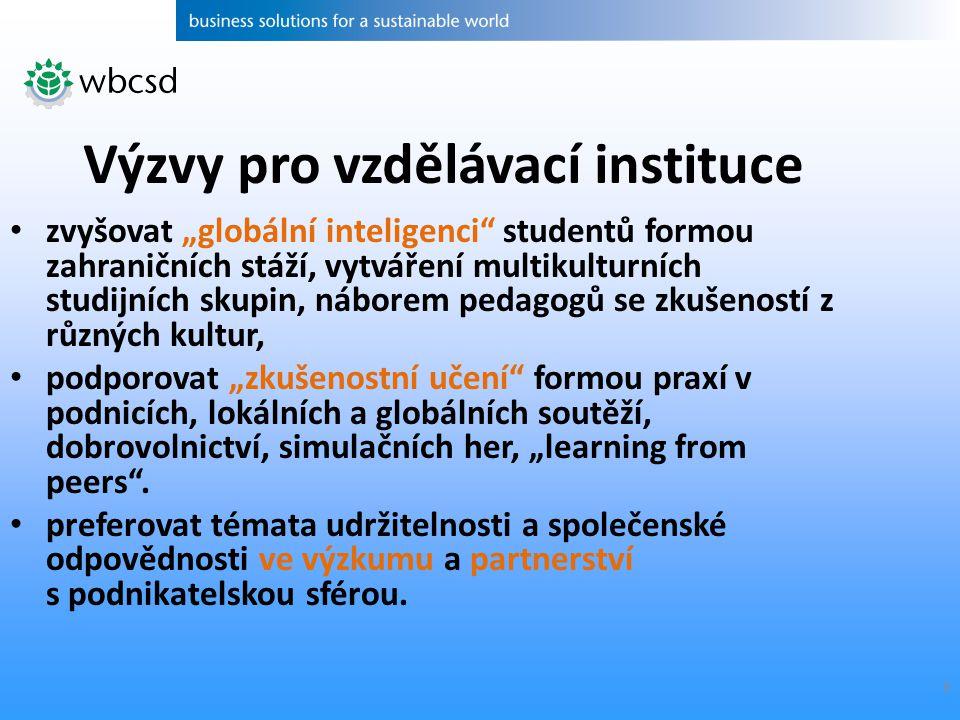 """8 zvyšovat """"globální inteligenci"""" studentů formou zahraničních stáží, vytváření multikulturních studijních skupin, náborem pedagogů se zkušeností z rů"""