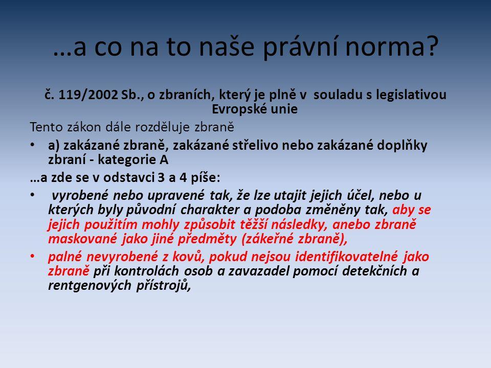…a co na to naše právní norma? č. 119/2002 Sb., o zbraních, který je plně v souladu s legislativou Evropské unie Tento zákon dále rozděluje zbraně a)