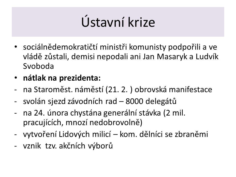 Ústavní krize sociálnědemokratičtí ministři komunisty podpořili a ve vládě zůstali, demisi nepodali ani Jan Masaryk a Ludvík Svoboda nátlak na prezidenta: -na Staroměst.