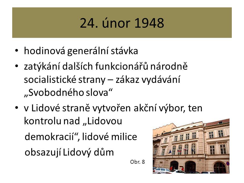 """24. únor 1948 hodinová generální stávka zatýkání dalších funkcionářů národně socialistické strany – zákaz vydávání """"Svobodného slova"""" v Lidové straně"""