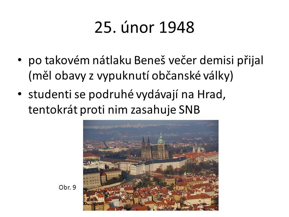 25. únor 1948 po takovém nátlaku Beneš večer demisi přijal (měl obavy z vypuknutí občanské války) studenti se podruhé vydávají na Hrad, tentokrát prot