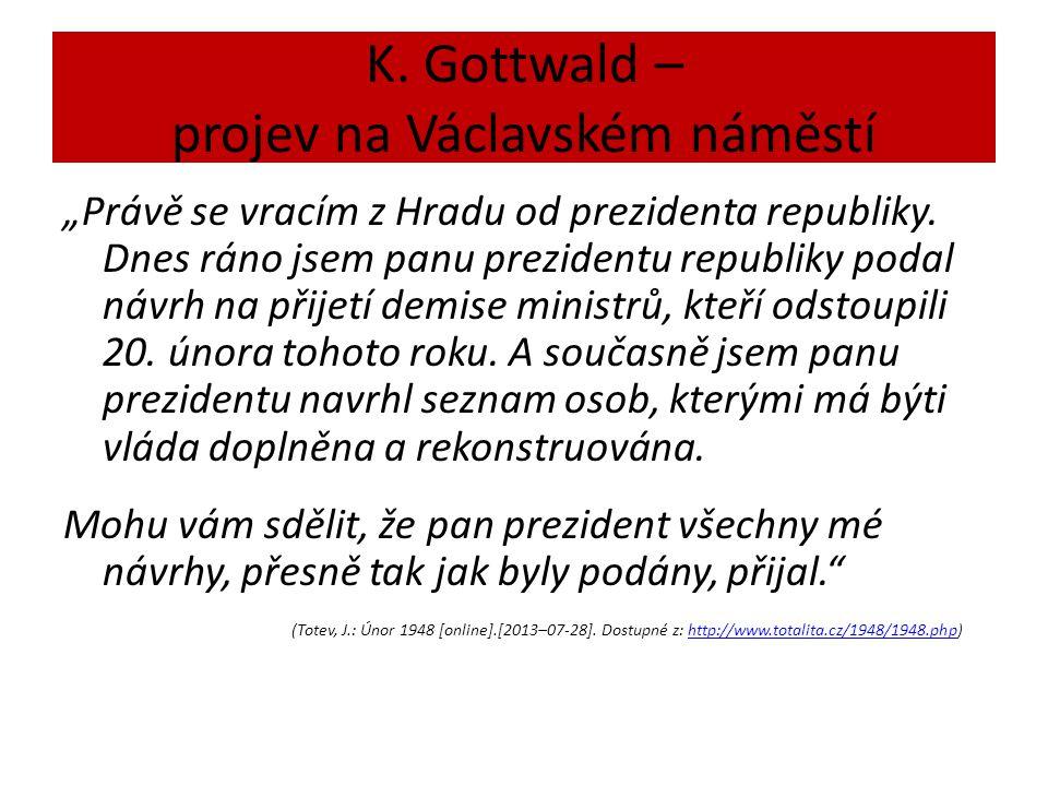 """K. Gottwald – projev na Václavském náměstí """"Právě se vracím z Hradu od prezidenta republiky."""