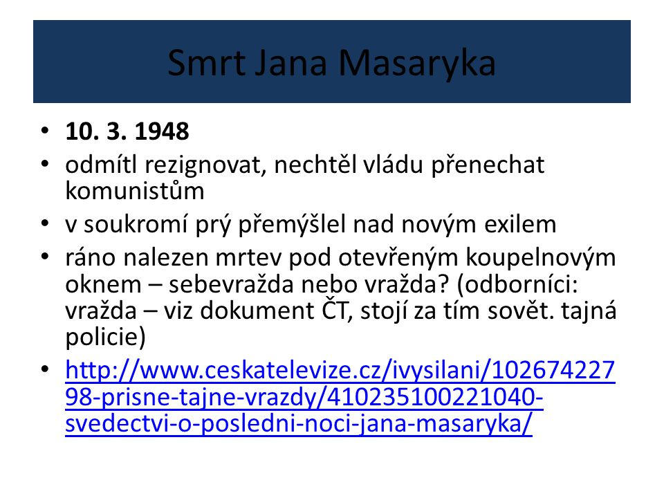 Smrt Jana Masaryka 10. 3.