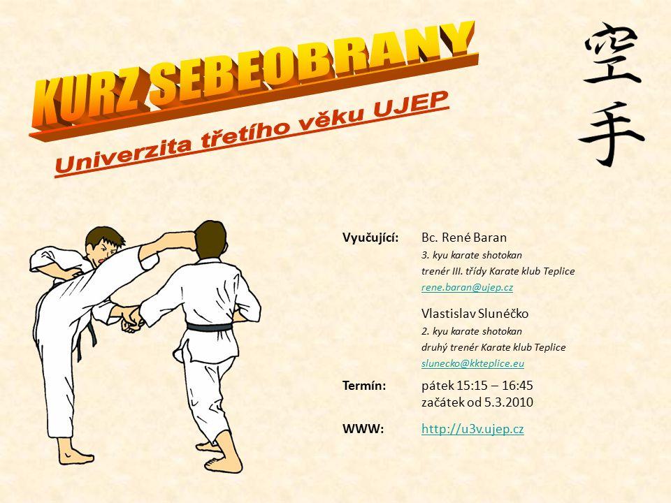 Vyučující:Bc.René Baran 3. kyu karate shotokan trenér III.