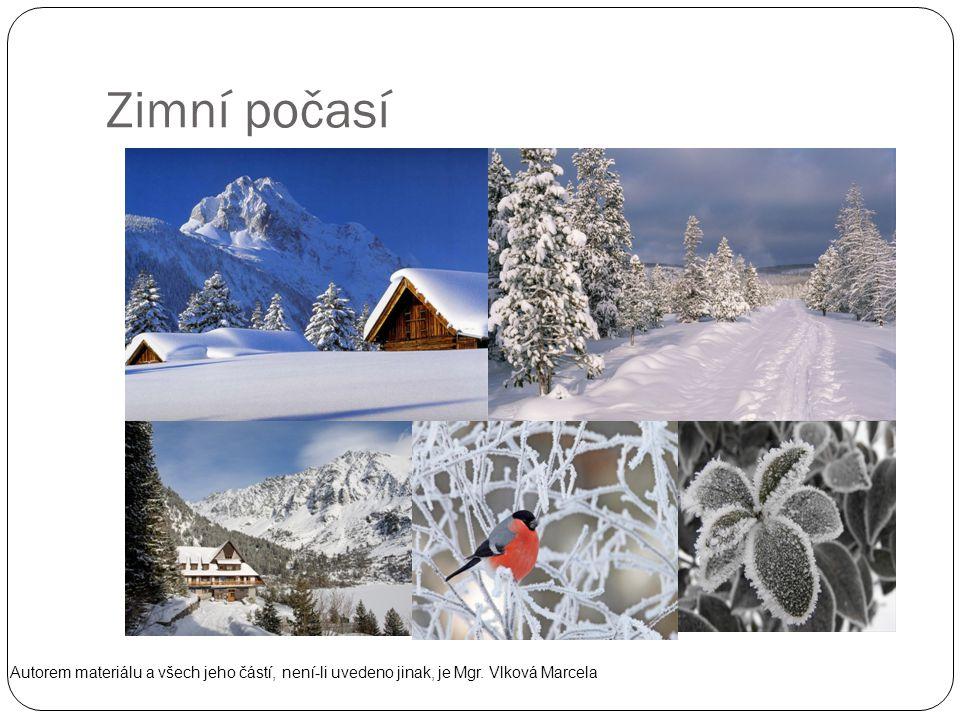 Zimní počasí Autorem materiálu a všech jeho částí, není-li uvedeno jinak, je Mgr. Vlková Marcela
