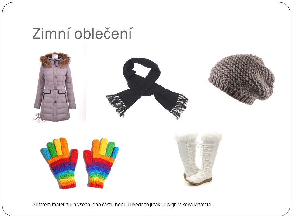 Zimní oblečení Autorem materiálu a všech jeho částí, není-li uvedeno jinak, je Mgr. Vlková Marcela