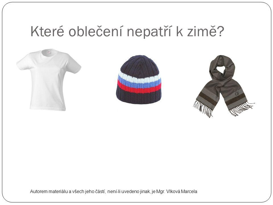 Které oblečení nepatří k zimě? Autorem materiálu a všech jeho částí, není-li uvedeno jinak, je Mgr. Vlková Marcela