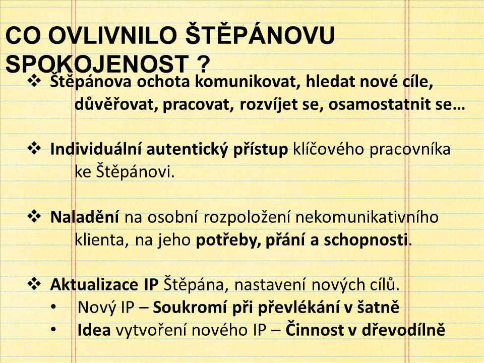  Štěpánova ochota komunikovat, hledat nové cíle, důvěřovat, pracovat, rozvíjet se, osamostatnit se…  Individuální autentický přístup klíčového pracovníka ke Štěpánovi.