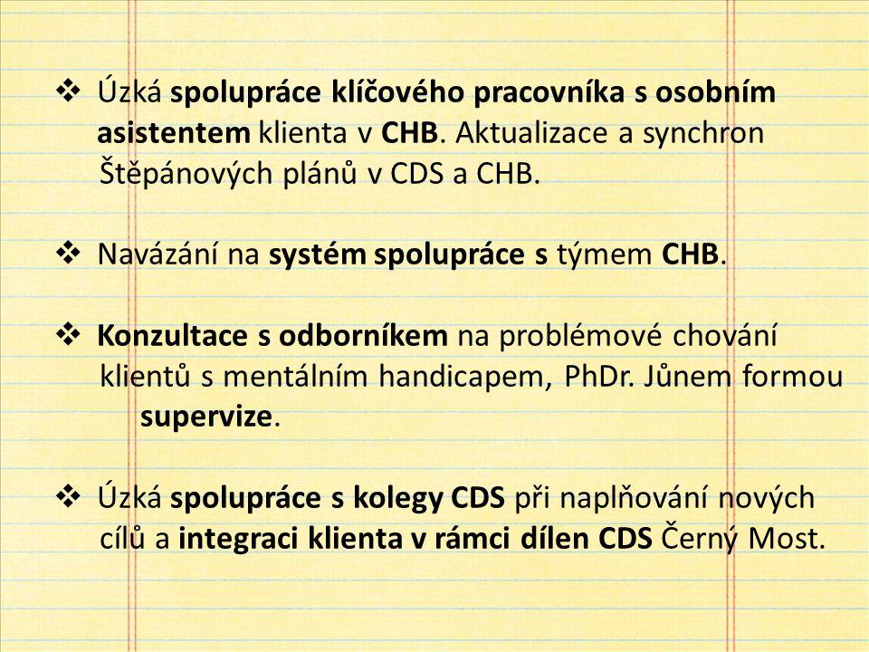  Úzká spolupráce klíčového pracovníka s osobním asistentem klienta v CHB.