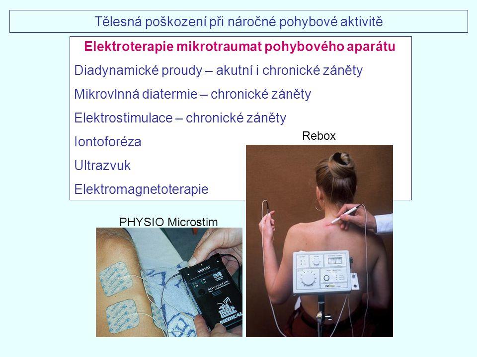 Elektroterapie mikrotraumat pohybového aparátu Diadynamické proudy – akutní i chronické záněty Mikrovlnná diatermie – chronické záněty Elektrostimulac