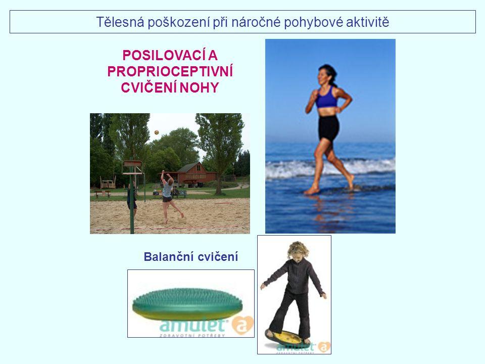 POSILOVACÍ A PROPRIOCEPTIVNÍ CVIČENÍ NOHY Balanční cvičení Tělesná poškození při náročné pohybové aktivitě