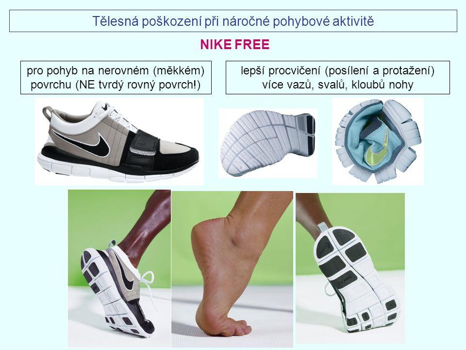 pro pohyb na nerovném (měkkém) povrchu (NE tvrdý rovný povrch!) lepší procvičení (posílení a protažení) více vazů, svalů, kloubů nohy NIKE FREE Tělesn
