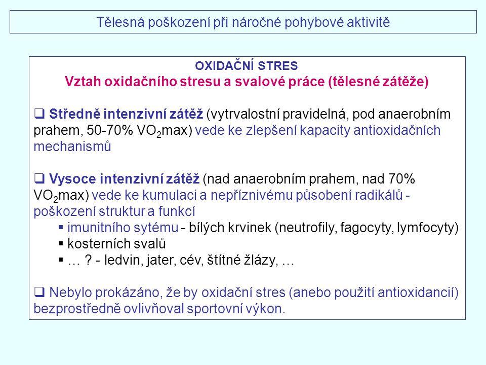 Tělesná poškození při náročné pohybové aktivitě OXIDAČNÍ STRES Vztah oxidačního stresu a svalové práce (tělesné zátěže)  Středně intenzivní zátěž (vy