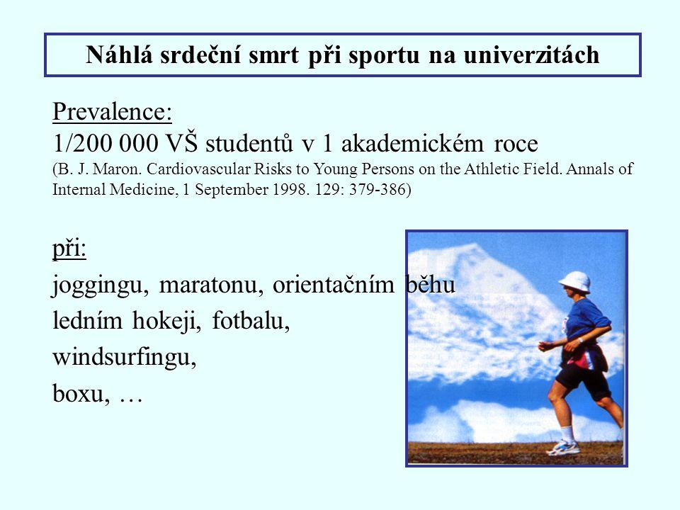 Náhlá srdeční smrt při sportu na univerzitách Prevalence: 1/200 000 VŠ studentů v 1 akademickém roce (B. J. Maron. Cardiovascular Risks to Young Perso