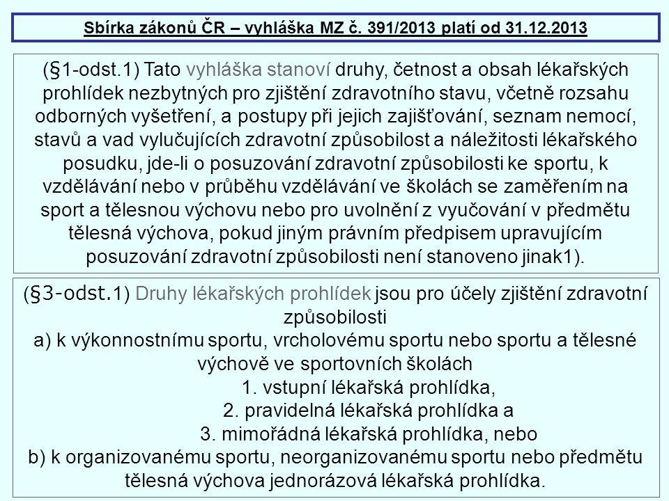 Sbírka zákonů ČR – vyhláška MZ č. 391/2013 platí od 31.12.2013 ( § 1-odst.1) Tato vyhláška stanoví druhy, četnost a obsah lékařských prohlídek nezbytn