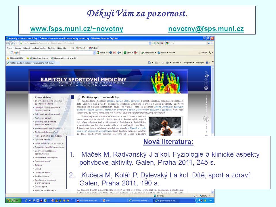Děkuji Vám za pozornost. www.fsps.muni.cz/~novotnynovotny@fsps.muni.cz Nová literatura: 1. Máček M, Radvanský J a kol. Fyziologie a klinické aspekty p