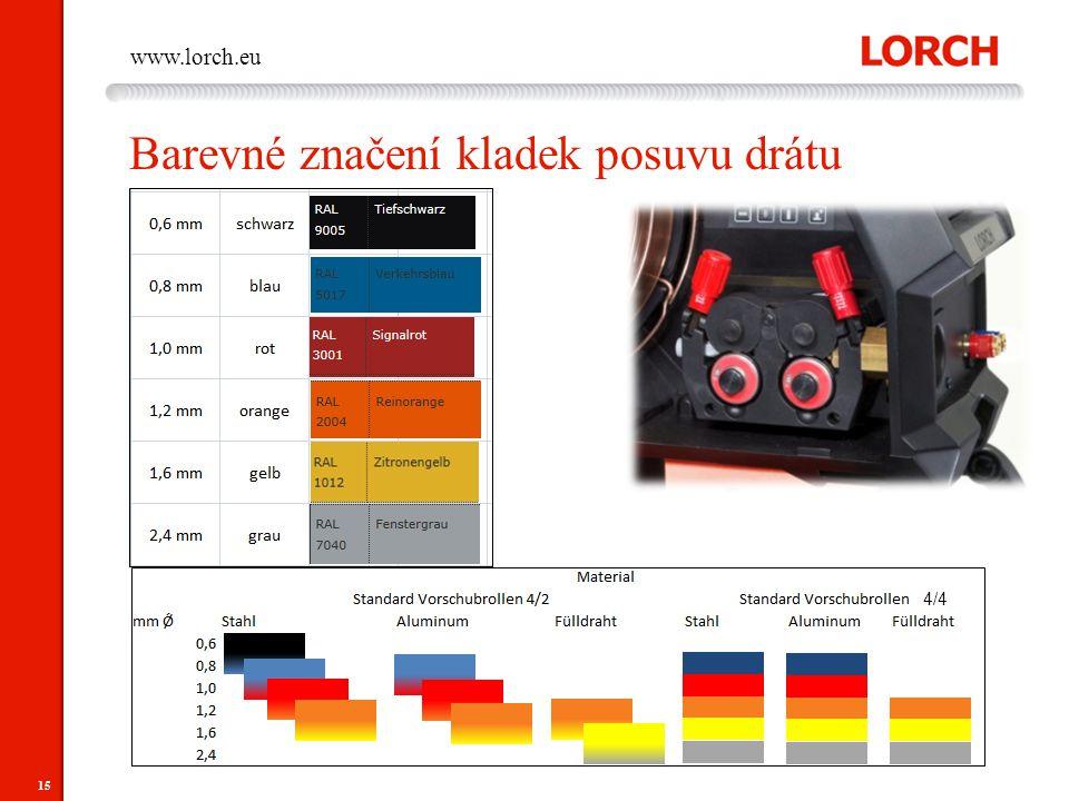 15 www.lorch.eu Barevné značení kladek posuvu drátu 4/4