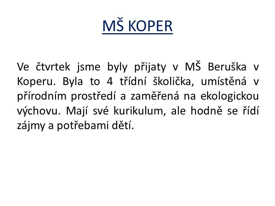 MŠ KOPER Ve čtvrtek jsme byly přijaty v MŠ Beruška v Koperu.
