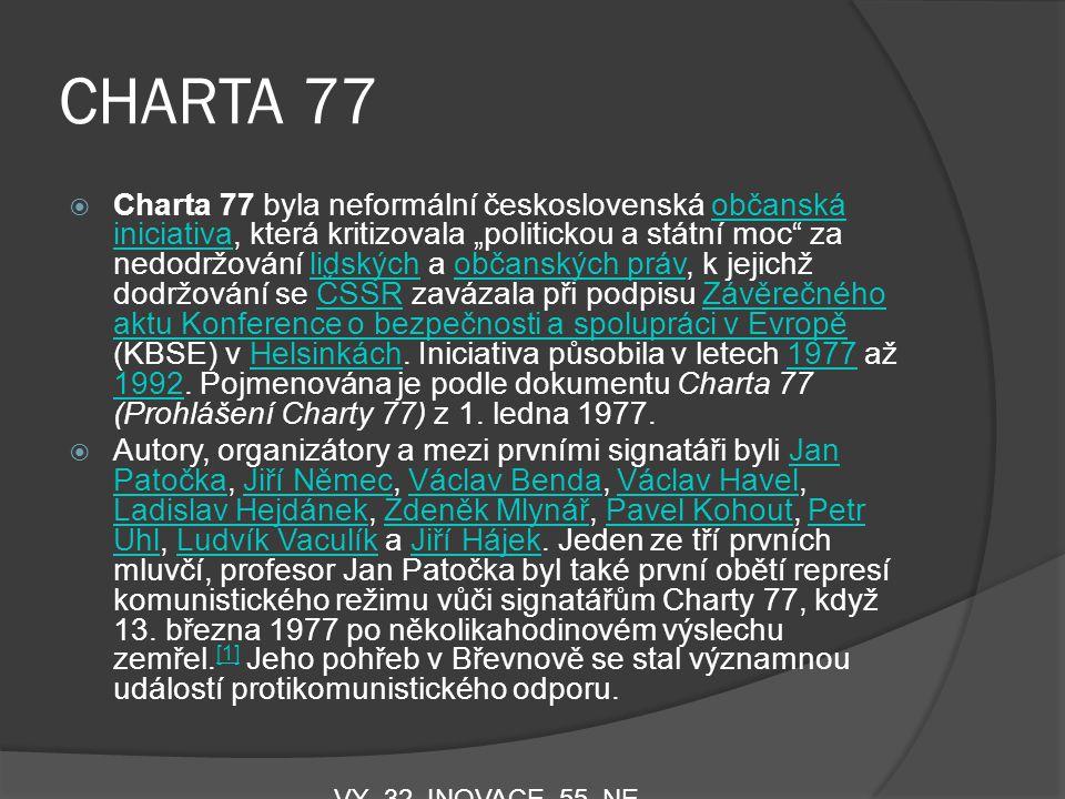 """CHARTA 77  Charta 77 byla neformální československá občanská iniciativa, která kritizovala """"politickou a státní moc"""" za nedodržování lidských a občan"""