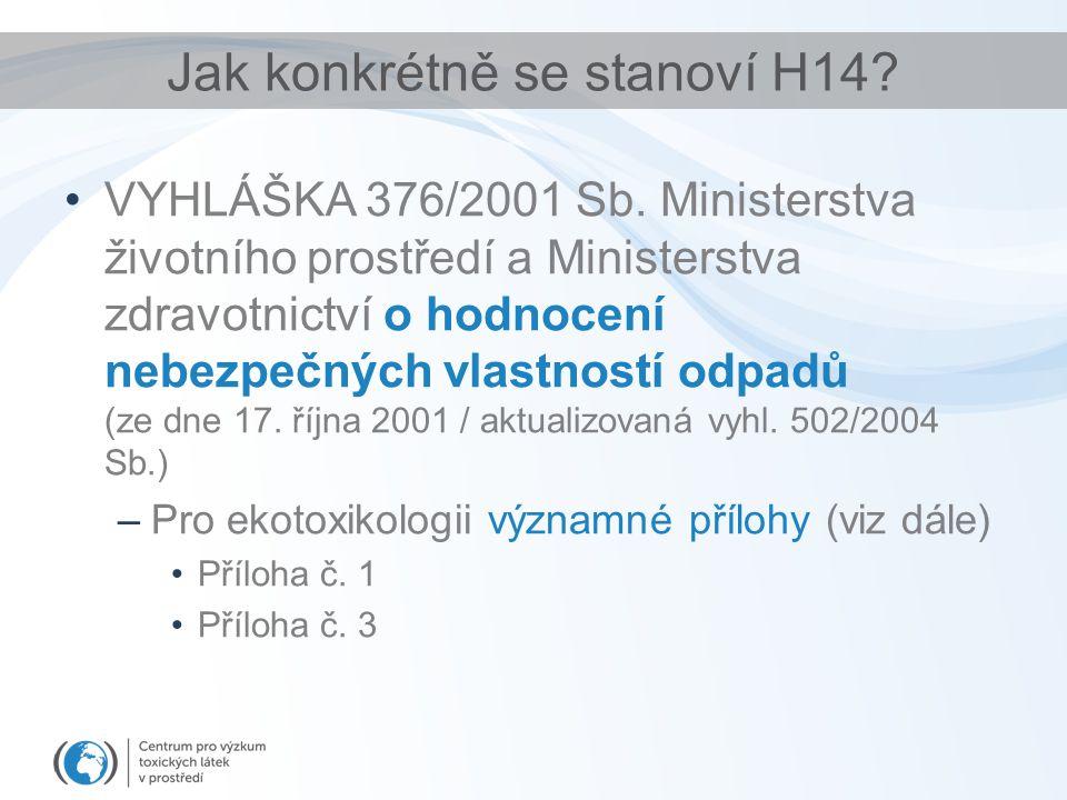 Jak konkrétně se stanoví H14? VYHLÁŠKA 376/2001 Sb. Ministerstva životního prostředí a Ministerstva zdravotnictví o hodnocení nebezpečných vlastností