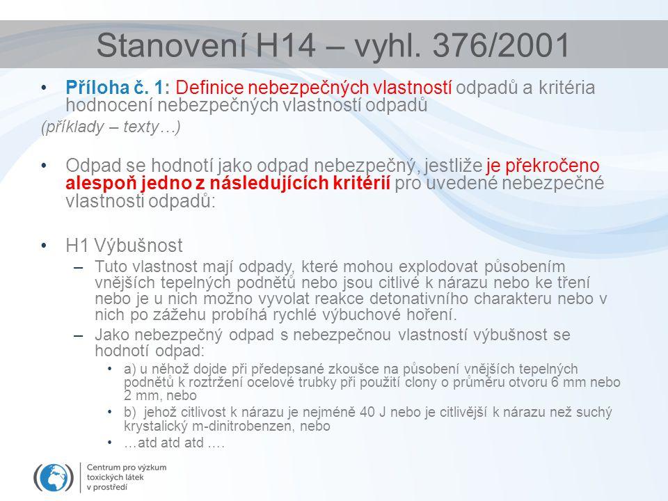 Stanovení H14 – vyhl. 376/2001 Příloha č. 1: Definice nebezpečných vlastností odpadů a kritéria hodnocení nebezpečných vlastností odpadů (příklady – t