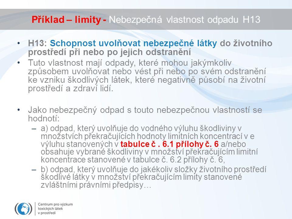 Příklad – limity - Nebezpečná vlastnost odpadu H13 H13: Schopnost uvolňovat nebezpečné látky do životního prostředí při nebo po jejich odstranění Tuto