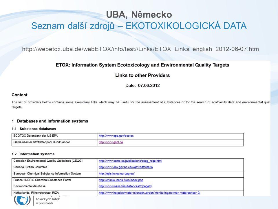 UBA, Německo Seznam další zdrojů – EKOTOXIKOLOGICKÁ DATA http://webetox.uba.de/webETOX/info/test//Links/ETOX_Links_english_2012-06-07.htm
