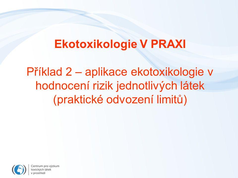 Ekotoxikologie V PRAXI Příklad 2 – aplikace ekotoxikologie v hodnocení rizik jednotlivých látek (praktické odvození limitů)