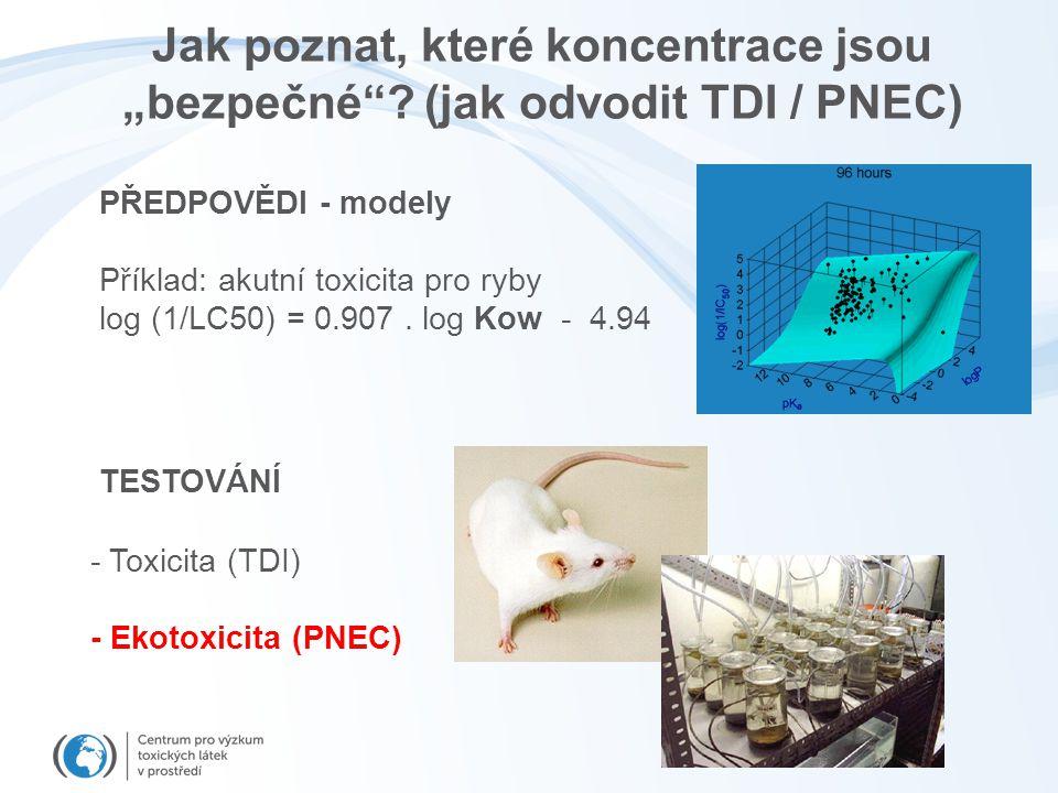 """Jak poznat, které koncentrace jsou """"bezpečné""""? (jak odvodit TDI / PNEC) PŘEDPOVĚDI - modely Příklad: akutní toxicita pro ryby log (1/LC50) = 0.907. lo"""
