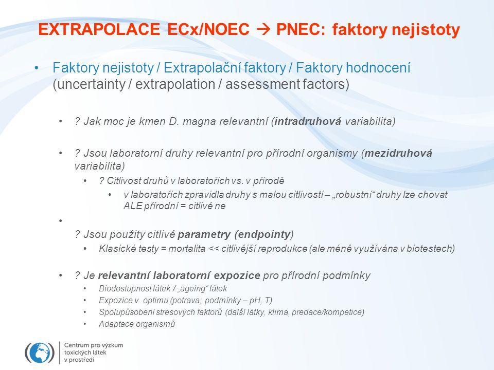 EXTRAPOLACE ECx/NOEC  PNEC: faktory nejistoty Faktory nejistoty / Extrapolační faktory / Faktory hodnocení (uncertainty / extrapolation / assessment