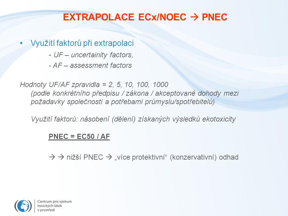 EXTRAPOLACE ECx/NOEC  PNEC Využití faktorů při extrapolaci - UF – uncertainity factors, - AF – assessment factors Hodnoty UF/AF zpravidla = 2, 5, 10,