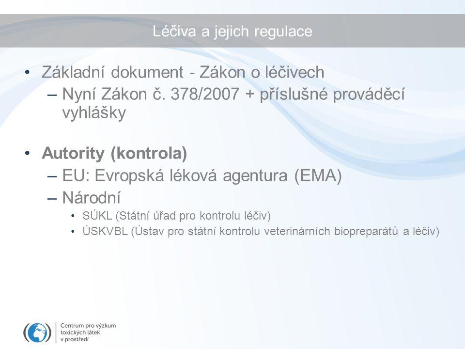 Léčiva a jejich regulace Základní dokument - Zákon o léčivech –Nyní Zákon č. 378/2007 + příslušné prováděcí vyhlášky Autority (kontrola) –EU: Evropská