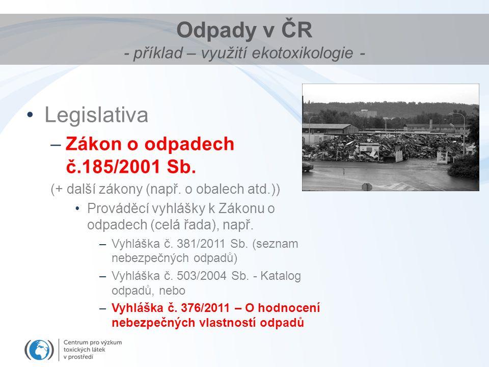 Odpady v ČR - příklad – využití ekotoxikologie - Legislativa –Zákon o odpadech č.185/2001 Sb. (+ další zákony (např. o obalech atd.)) Prováděcí vyhláš