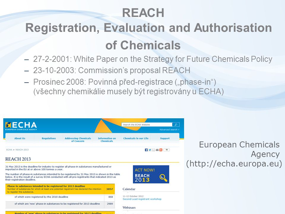 REACH Registration, Evaluation and Authorisation of Chemicals –27-2-2001: White Paper on the Strategy for Future Chemicals Policy –23-10-2003: Commiss