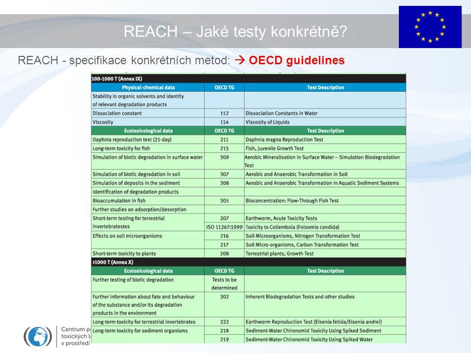 REACH – Jaké testy konkrétně? REACH - specifikace konkrétních metod:  OECD guidelines